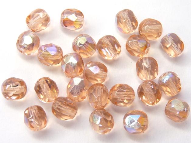 0070388 Light Peach AB facet 6 mm. 25 Pc.-0