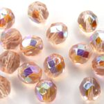 0070390 Light Peach AB facet 8 mm. 15 Pc.-0