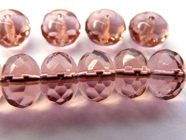 0070402 French Rose Donut rondelle, facet 9 x 6 mm.-0