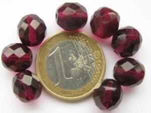 0070413 Donker Fuchsia roze facet 10 mm.-0