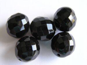 0010408 Zwart facet geslepen 14 mm.-0