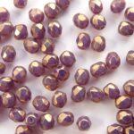 0080521 White Opal Purple Luster facet 4 mm. 40 Pc.-0