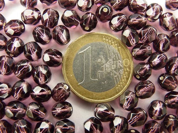 0080537 Silver lined Med. amethyst facet, 6 mm.-0
