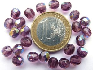 0080543 Medium Amethyst AB facet 6 mm. 25 Pc.-0
