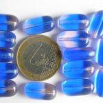 0090002 Blauw met roze glaskralen 15 Pc.-0