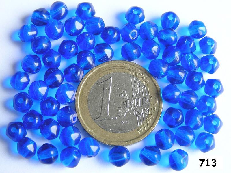 0090013 Blauw bijna rond 5 mm. 60 Pc.-0