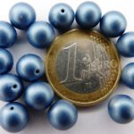 0090070 Metallic Suede Blue Round 8 mm. 14 Pc.-0