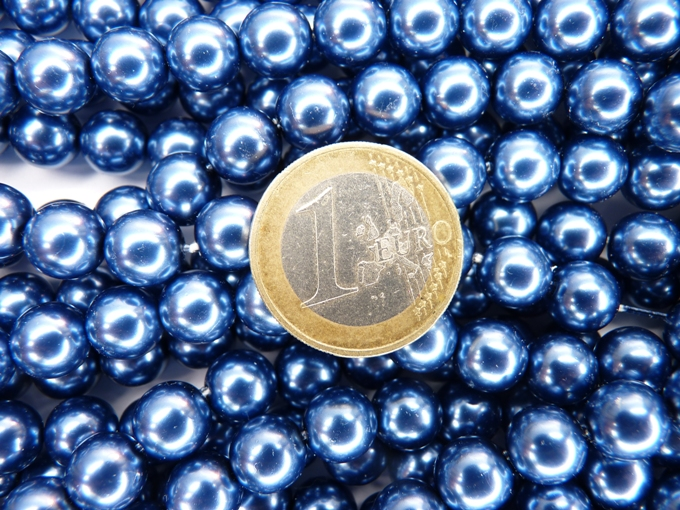 0090073 Jeansbauwe glasparels 9 mm.-0