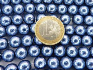 0090074 Jeans Blue ruwe glasparels 10 mm. 15 Pc.-0