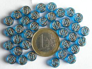 0090209 Aqua/Blauw schijfje met goudkleur-0