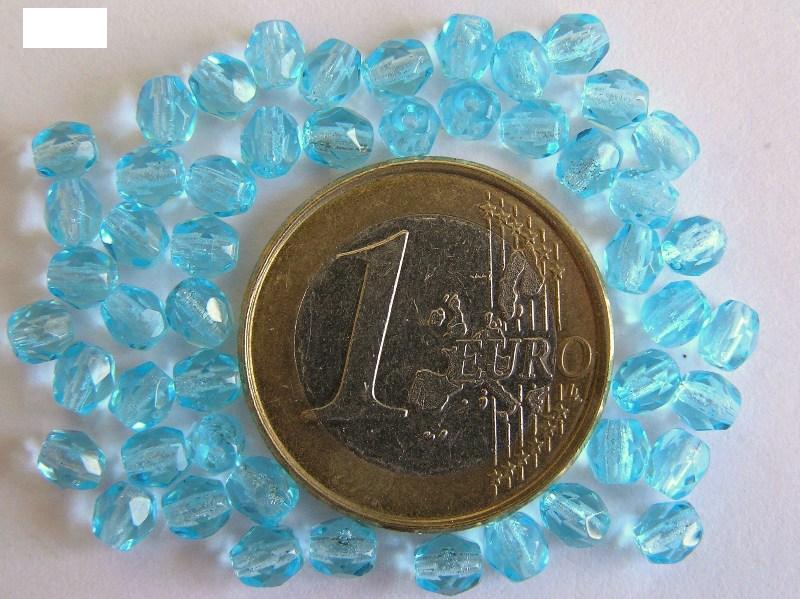 0090320 Aquamarine facet 4 mm. 50 Pc.-0