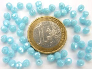 0090323 Opaque Blue Turquoise white Lustered facet 4 mm. 40 St.-0