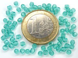 0090331 Teal ( Blue Zircon) Facet 3 mm. 75 Stuks-0