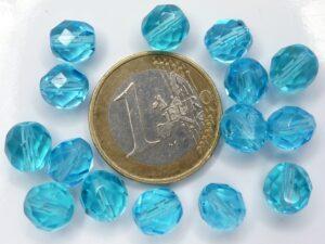 0090339 Aquamarine facet 8 mm. 15 stuks-0