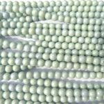 0100046 Opaque White, green Luster round 6 mm. 30 Pc.-0
