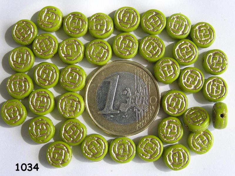 0100104 Appeltjesgroen rond schijfje met goudkleurige opdruk opd-0