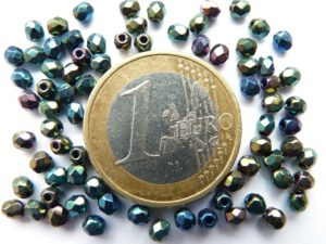 0100364 Zwart met green iris coating facet 3 mm. 75 Pc.-0