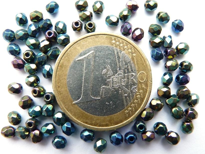 0100364 Zwart met green iris coating facet 3 mm. 75 Pc.-0