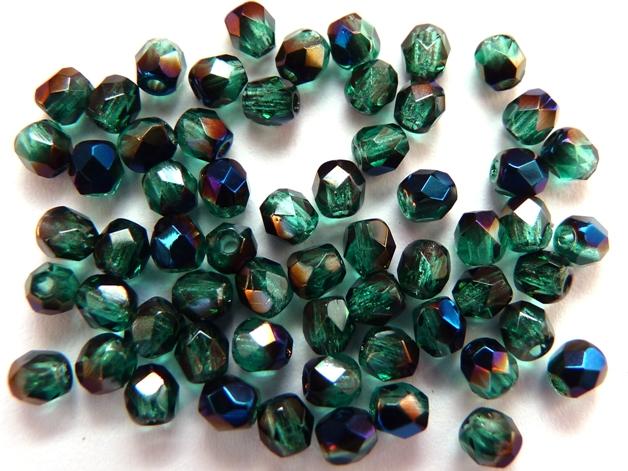 0100367 Emerald met Blue Iris facet 3 mm.-0