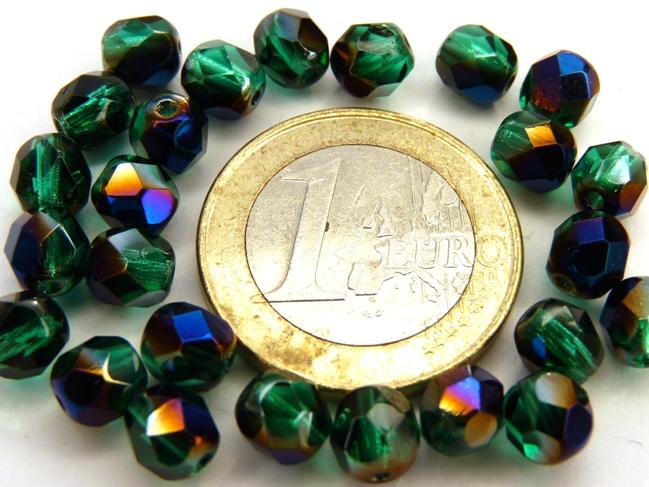 0100370 Emerald met Blue Iris facet 6 mm. 25 stuks-0