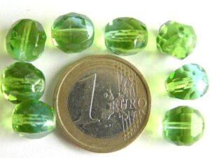 0100389 Groen met aquablauw, apart facet 10 mm.-0