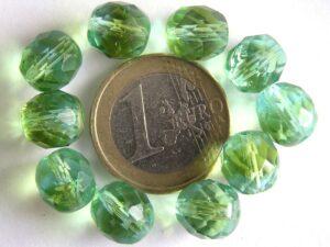 0100390 Groen met aquablauw facet 10 mm.-0