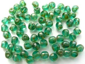 0100393 Teal Silver Travertin Special Cut 6 mm. 25 Pc.-0