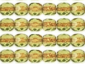 0100432 Copper-Lined Olive facet, 4 mm. 4 mm. 50 stuks-0