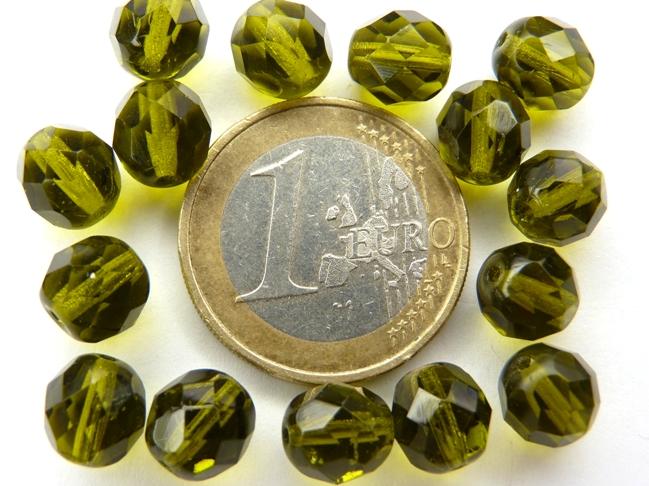 0100453 Olive Green facet 8 mm. 15 stuks-0
