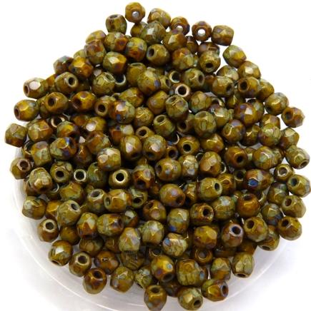 0100470 Opaque green met Travertin facet 3 mm.-0