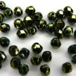 0100501 Dark Green Metallic, facet, 4 mm.-0