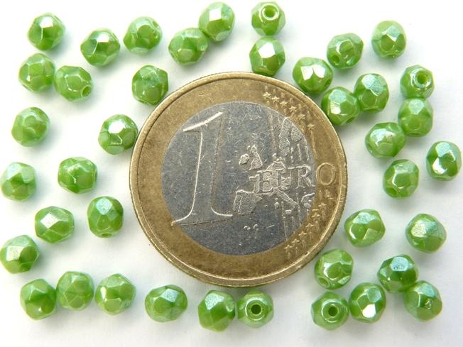 0100497 Green Silk Hematite facet 4 mm. 40 stuks-0