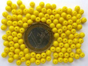 0130002 Opaque Yellow rond 4 mm. 130 stuks-0