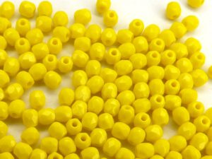 0130118 Opaque Yellow Facet, 3 mm. 60 stuks-0