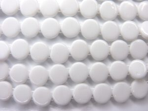 0140017 Chalk White 2 Hole Flat Disk 1 strand of 25 Pc.-0