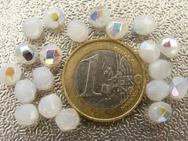 0140223 White opal met AB facet, 6 mm.-0