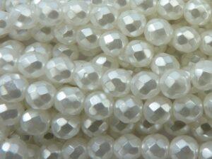0140236 White Pearl Facet geslepen 8 mm. 15 stuks-0