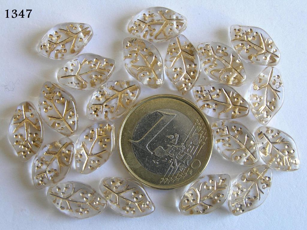 0150041 Transparant blaadje met goudkleurige nerf-0