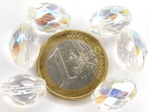 0150133 Crystal AB Oval facet. 14 x 10 mm.-0