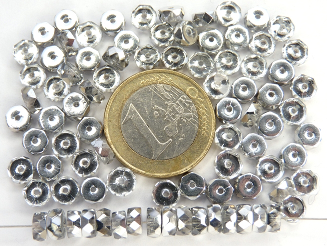 0150146 Crystal half Silver Flat Rondelle. 6 x 3 mm. 40 stuks-0
