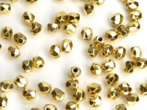 0150166 Aurum ( goud coated) facet 4 mm. 20 Pc.-0