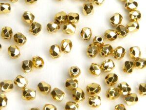 0150166 Aurum ( goud coated) facet 4 mm. 20 Pc.-0