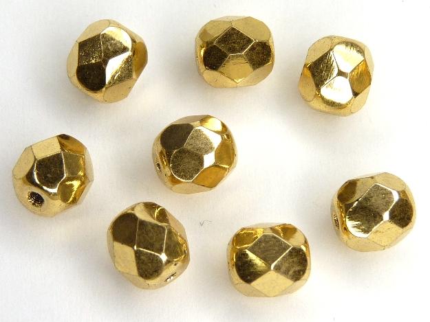 0150167 Aurum ( goud coated) facet 6 mm. 8 Pc.-0