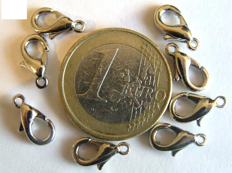 0160001 Karabijnslotjes nikkelkleur 12 mm. 8 Pc.-0