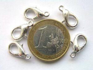 0160005 Karabijnslotjes silvercoated, eerste keus 15 mm. 4 Pc.-0