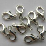 0160003 Karabijnslotjes silvercoated eerste keus 10 mm. 6 Pc.-0