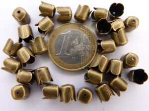 0160074 Eindkappen, Antique Bronze 6,5 x 7,5 mm. 30 stuks.-0