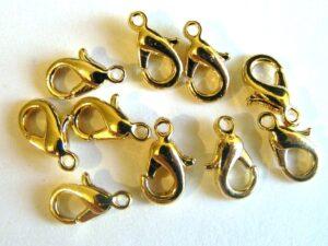 0170001 Karabijnslotjes goudkleur, eerste keus 10 mm. 5 Pc.-0