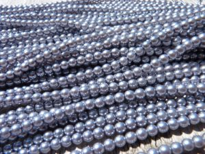 03-132-19001-70444 Shiny Silver Grey Glass Pearl 150 Pc.-0