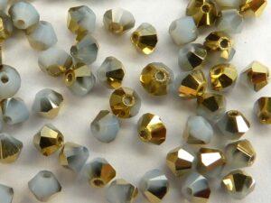 03-MC-01000-26441 Bicones White Opal Brass, 3 mm. 50 Pc.-0